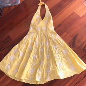 Lily Pulitzer Yellow Embroidered Halter Dress